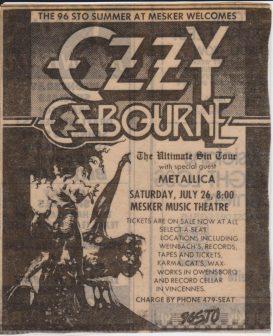 Damage Inc. Tour z Ozzym Osbournem (USA)